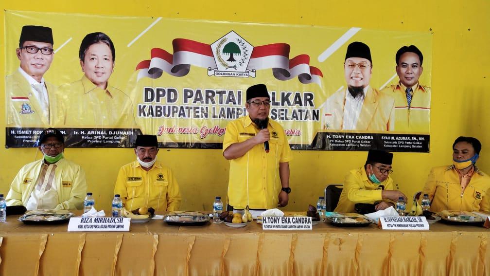 Ditunjuk Jadi Plt Ketua Golkar Lamsel, Tony Eka Candra Langsung Gelar Rapat Pleno Diperluas