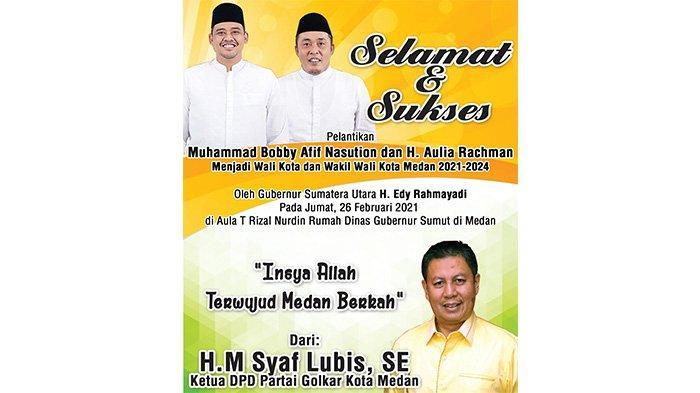 Bobby Nasution Dilantik Jadi Walikota, Syaf Lubis Optimis Medan Berkah Segera Terwujud