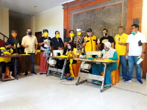 Berdayakan 30 Penjahit Rumahan, Golkar Bali Produksi 100 Ribu Masker