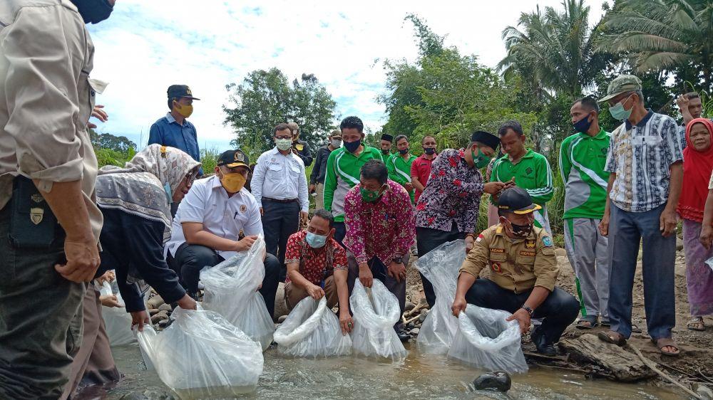 Reses di Merangin, Pinto Jayanegara Tebar 150 Ribu Bibit Ikan di Pulau Raman dan Danau Pauh