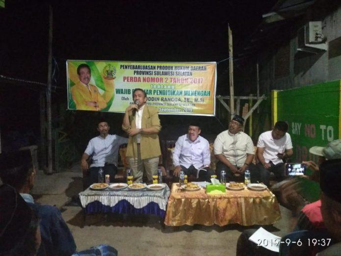 Fachruddin Rangga Sosialisasikan Perda Wajib Belajar di Galesong Utara, Takalar