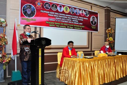 Wagub Gorontalo Idris Rahim Lepas Puluhan Kader SOKSI Ikut Pelatihan Barista di Lembang