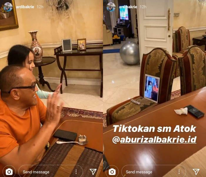 Keseruan Ketua Dewan Pembina Golkar, Aburizal Bakrie Main TikTok Bareng Sang Cucu