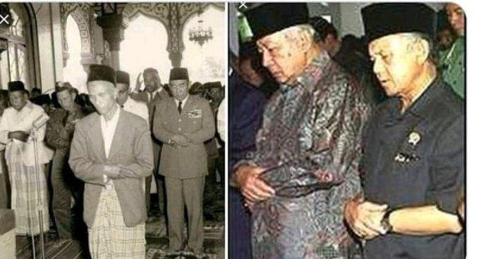 Jarang Terekspos! Potret Pak Harto Jadi Imam Shalat, Makmumnya Para Menteri dan Jenderal