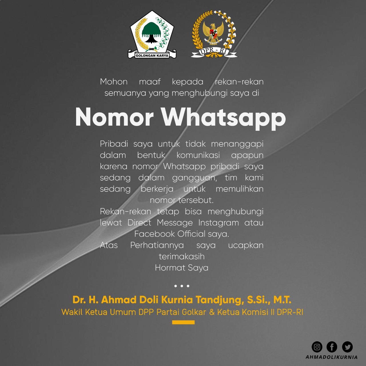 Waspada! Nomor WhatsApp Waketum DPP Partai Golkar, Ahmad Doli Kurnia Diretas