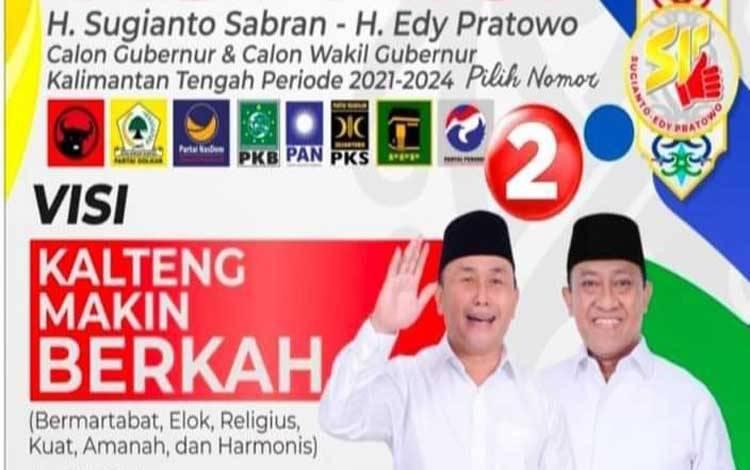 Quick Count Charta Politika, Sugianto Sabran-Edy Pratowo Unggul Jauh 54,76 Persen di Pilgub Kalteng