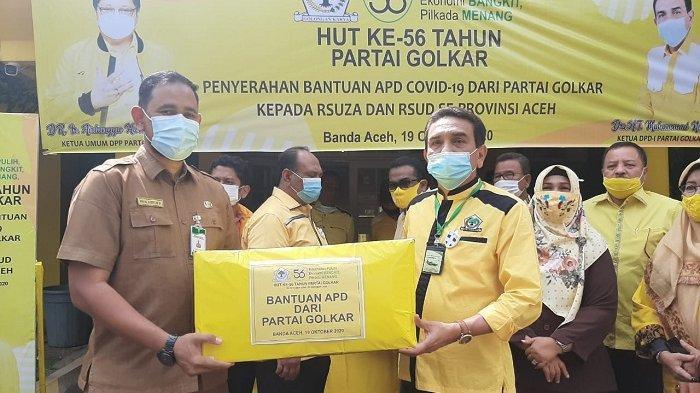 TM Nurlif Pimpin Golkar Aceh Salurkan Ratusan Paket APD Untuk RSU Zainoel Abidin dan RSU Meuraxa
