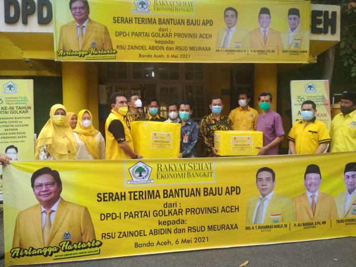 Golkar Aceh Kembali Salurkan Puluhan APD Untuk Nakes di RSUD Zainoel Abidin dan RSUD Meuraxa