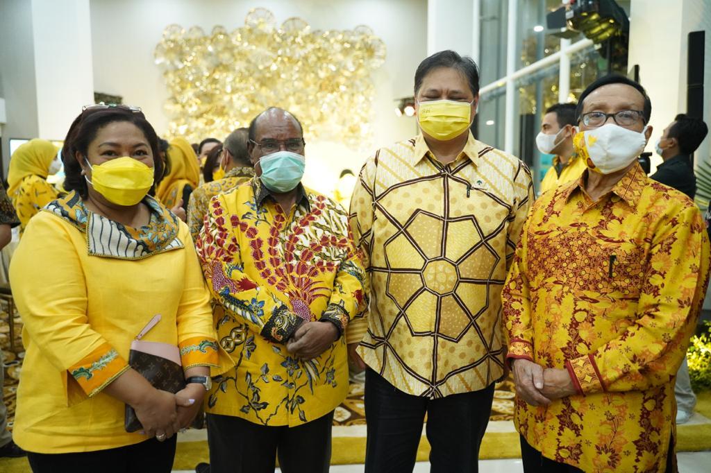 Peresmian Gedung Baru, Airlangga Hartarto Perkenalkan Lamberthus Jitmau Ketua Golkar Papua Barat Terpilih