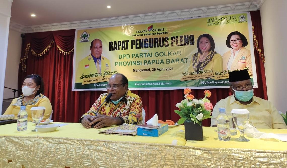 Lamberthus Jitmau Ajak Pengurus Baru Golkar Papua Barat 2021-2025 Tancap Gas