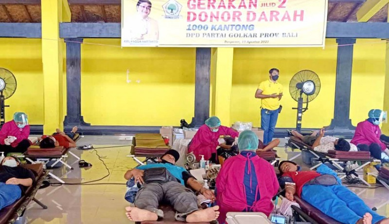 Antusiasme Kader Sangat Tinggi, Donor Darah Golkar Bali Tembus 1.000 Kantong