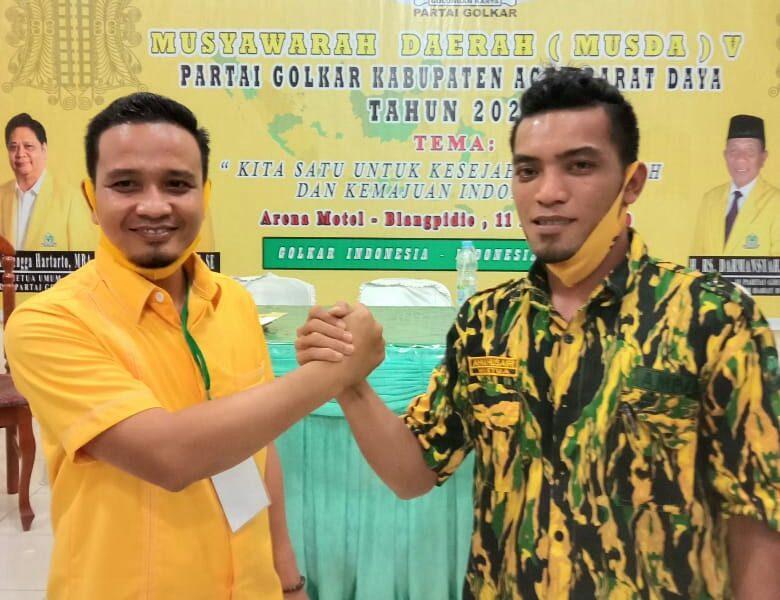 Politisi Muda Asal Tangan-Tangan, Agusri Samhadi Terpilih Pimpin Golkar Aceh Barat Daya