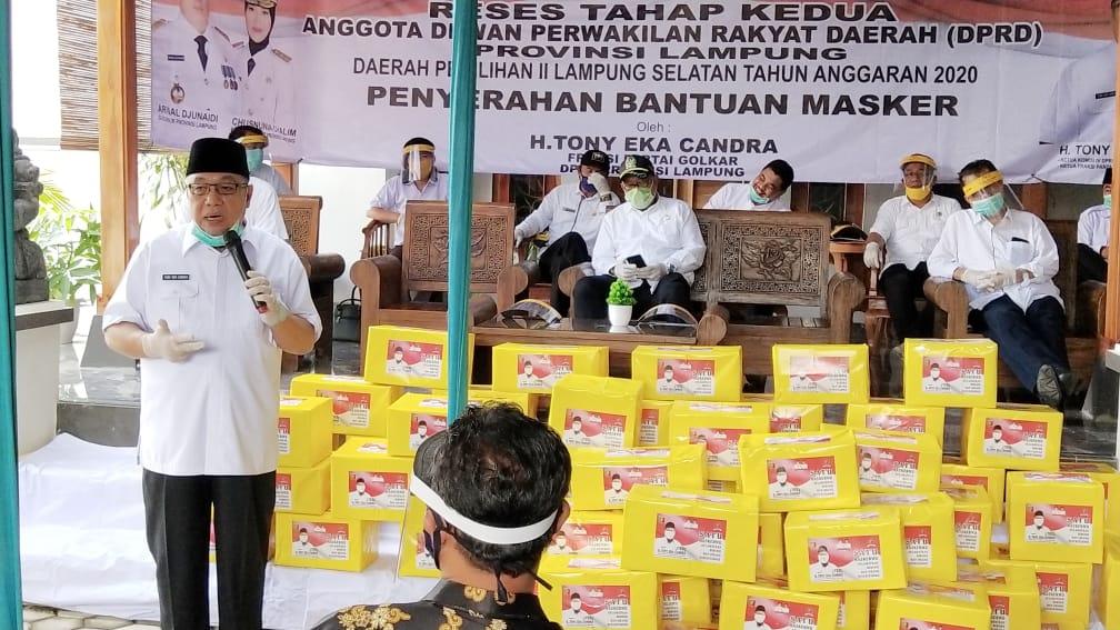 Reses di Jati Agung, Tony Eka Candra Bagikan Belasan Ribu Masker dan APD