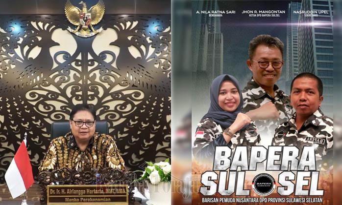 Jhon Rende Mangontan Pimpin Bapera Sulsel, Airlangga Hartarto Ucapkan Selamat