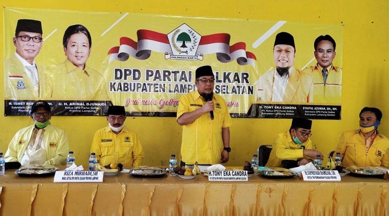 Jabat Plt Ketua Golkar Lampung Selatan, Tony Eka Candra Langsung Rapat Pleno Diperluas