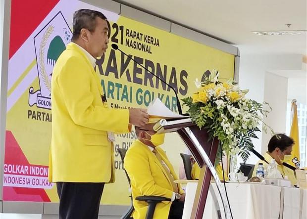 Rapimnas Golkar, Syamsuar Sampaikan Pembangunan Industri Hilir Sawit, Kelapa dan Sagu di Riau