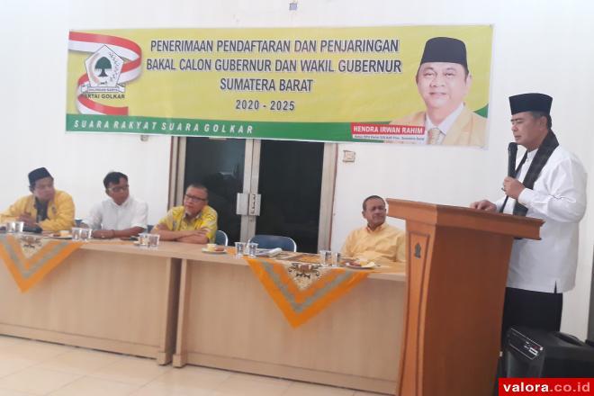 Pilkada Sumbar 2020, Wagub Nasrul Abit Daftar Ke Partai Golkar